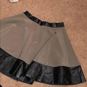 Akira Chicago dark green skirt with leather trim
